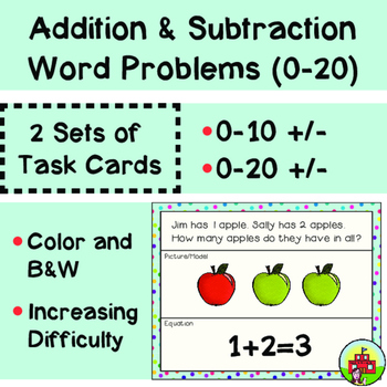 Addition and Subtraction Task Cards (0-20 Facts)