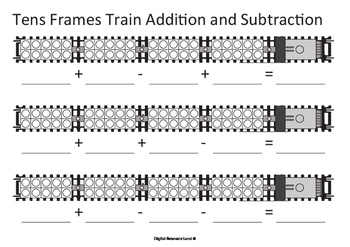 Addition and Subtraction Trains - Tens Frames