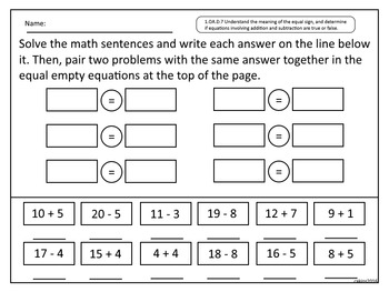 Addition and Subtraction True False Statements