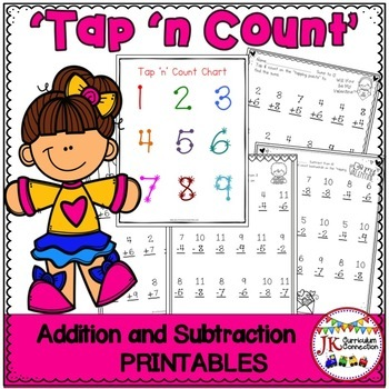 """Addition and Subtraction Valentine Worksheets with """"Tap 'n"""