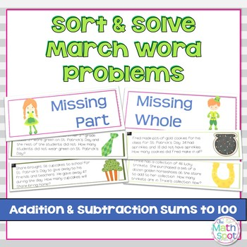 Addition and Subtraction Word Problem Sort: St. Patrick's