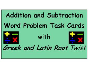 Addition and Subtraction Word Problem Task Cards (Greek/La