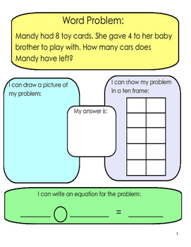 Addition and Subtraction Word Problems- Math Center and Re