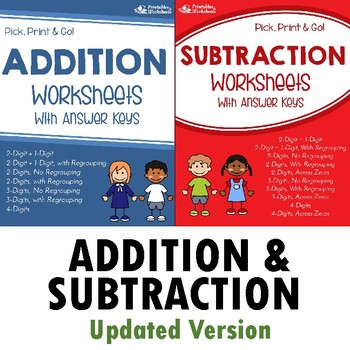 Addition and Subtraction Worksheets with Answer Keys