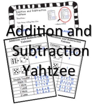Addition and Subtraction Yahtzee
