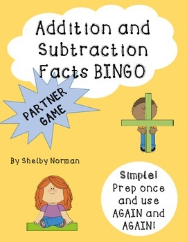 Addition and Subtraction facts BINGO - Partner Game for Ma