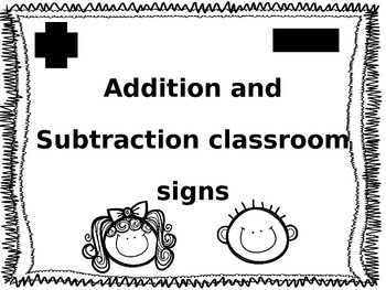 Addition and Subtraction key word charts