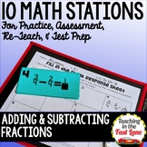 Addition and Subtraction of Fractions Test Prep Math Stations