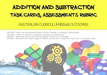 Number: Addition/Subtraction task cards, assessment & rubr