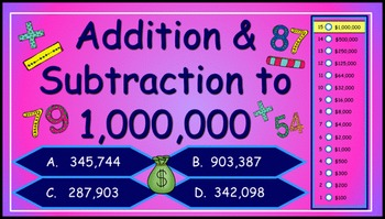 Addition and Subtraction to One Million Power Point Millio