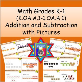 Addition and Subtraction with Pictures Task Cards:  Hallow