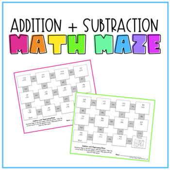 Addition and Subtraction with Regrouping Maze