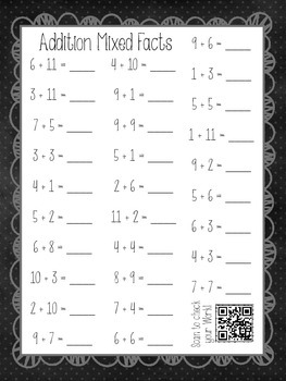 Addition and Subtractions Mixed Facts with QR Code