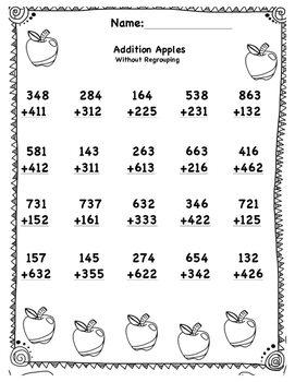 Addition and Subtractions Problems 3 Digits Without Regrouping