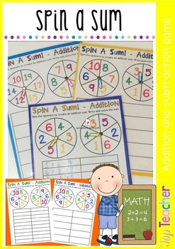 Spin a Sum/Spin and Subtract gameboards