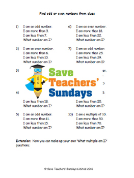 Odd or even and multiples lesson plans, worksheets and more