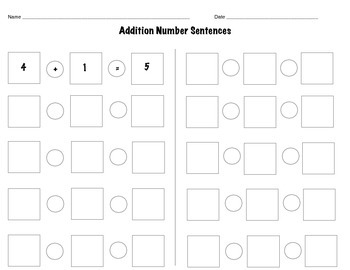 Addition number sentence gameboard