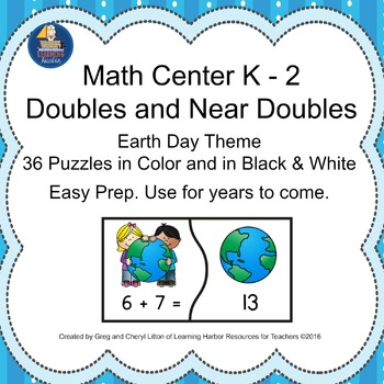 Math Center - Doubles and Near Doubles Puzzles with an Ear
