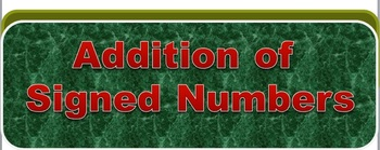 Addition of Signed Numbers PowerPoint Flashcards