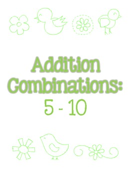 Addition on a Number Line - differentiated for 5-20 combinations