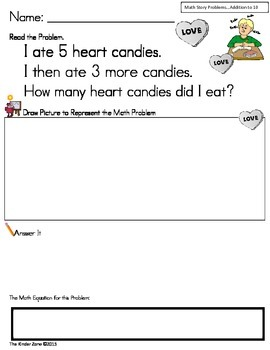 Addition to 10 Word Problems on Valentine's Day ** Read, D
