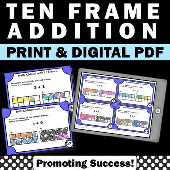 Solving Addition with 10 Frames Task Cards Kindergarten 1s