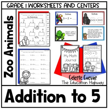 Addition within 5 -Zoo themed