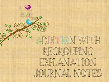 Addition with Regrouping Explanation Notes