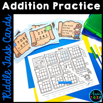 Addition with regrouping Task Cards with Pirate Riddles (3