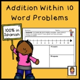 Addition within 10 Math Story Problems Spanish Version
