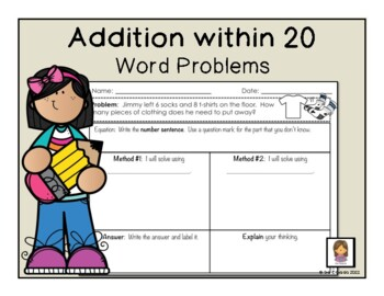 Addition within 20 word problems (1st Grade math) Result u