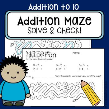 Addition worksheets to 10 - Maze run - Self-check math cen