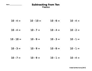 Addition/Subtraction - Making Tens (self-generating worksheet)