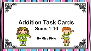 Addition Task Cards (sums 1-10)