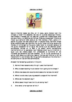 Adicto a la Red - reading comprehension text with question