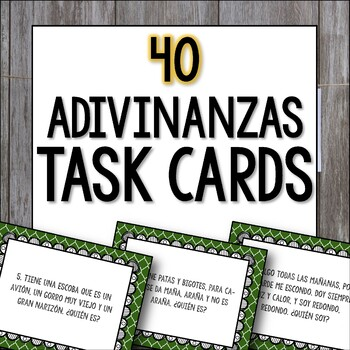 Adivinanzas Task Cards - Bellringers, Warm-Ups, Worksheet,