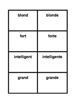 Adjectifs Masculine and Feminine forms Concentration game
