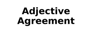 Adjective Agreement lesson using clothing and colors/Spani