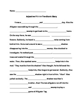 Adjective Fill-In-The-Blank Story