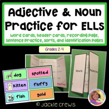 Adjective & Noun Practice for ELLs: Word Cards, Sentence P