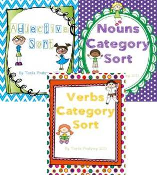 Adjective, Nouns and Verbs Category Sort bundle