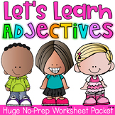 Adjective Printable Worksheet Pack - Kindergarten First Se