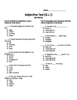 Adjective Test