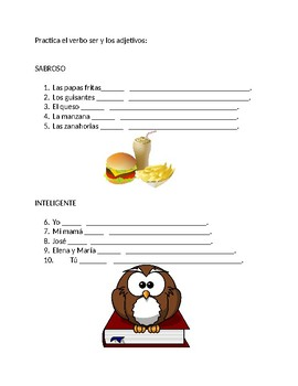 """Adjective agreement and verb """"to be"""" practice worksheet"""