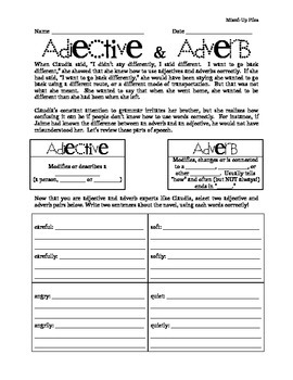 Adjective and Adverb & From the Mixed-Up Files of Mrs. Bas