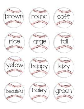Adjective and Noun Practice - Baseball Theme