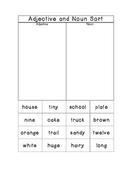Adjective and Noun Sort