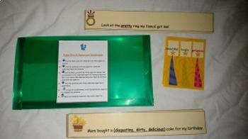Adjective and Synonym Sentences- file folder game- literac