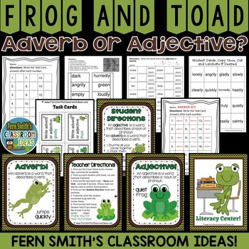 Frog and Toad Adjective or Adverb?  Task Cards, Center Gam