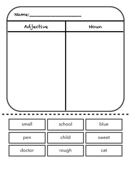 Adjective/noun sort